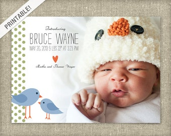 Bird Birth Announcement - Chick Baby Announcement - Photo Announcement - Custom Made - Printable