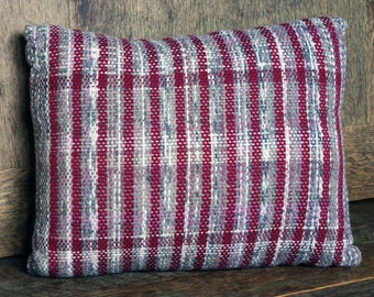 Red & Mauve flecked hand woven pillow