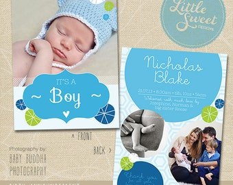 5x7 Birth Announcement Template (Baby Announcement) - Photoshop Template for photographers (BA10B) - INSTANT DOWNLOAD