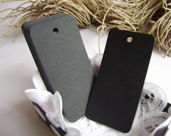 Black Rectangle Gift Tags - Set of 25