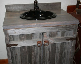 Weathered Gray Barn Wood Toilet Cabinet With Two Doors