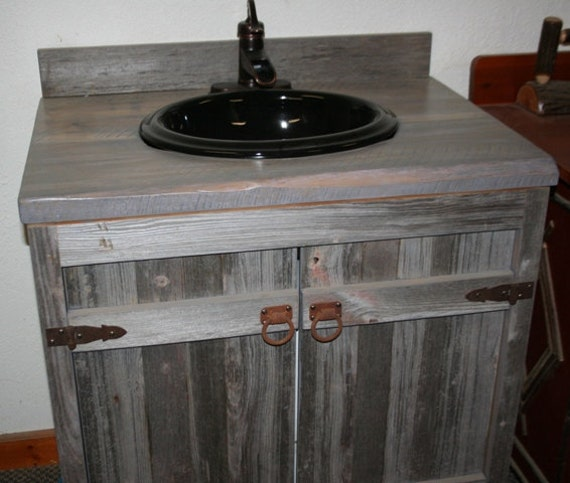 reclaimed wood bathroom vanity.  Weathered Gray Reclaimed Wood Bathroom Vanity