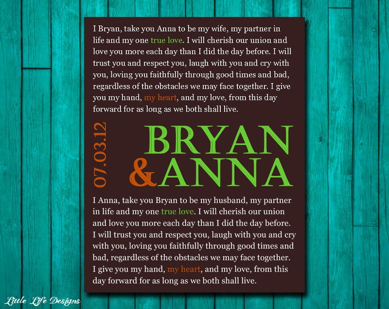 Gift For My Husband On Our Wedding Day: Wedding Vow. Personalized Wedding Vows. By LittleLifeDesigns