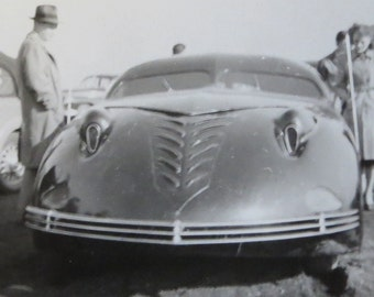 Vintage 1940's Prototype Automobile at Custom & Classic Car Show Snapshot Photo - The Phantom Corsair - Free Shipping