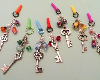 Choose your color--Key to the Heart cell phone charm, dust plug charm