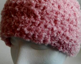 Pink Beanie Pink Crocheted Beanie Pink Crochet Beanie Hat Soft Boucle Beanie