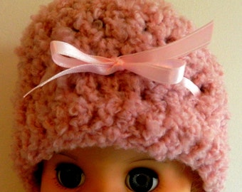 Pink Children's Beanie Pink Kid's Beanie Pink Children's Crochet Beanie Hat Hand Made Pink Boucle Yarn