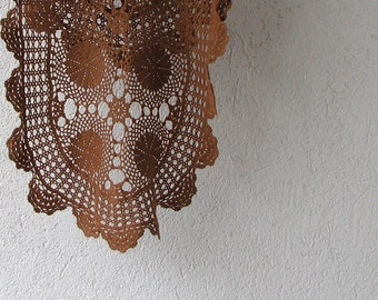 Oval crochet doily, Hand crocheted doilies , lace tablecloths , Brown , table decoration