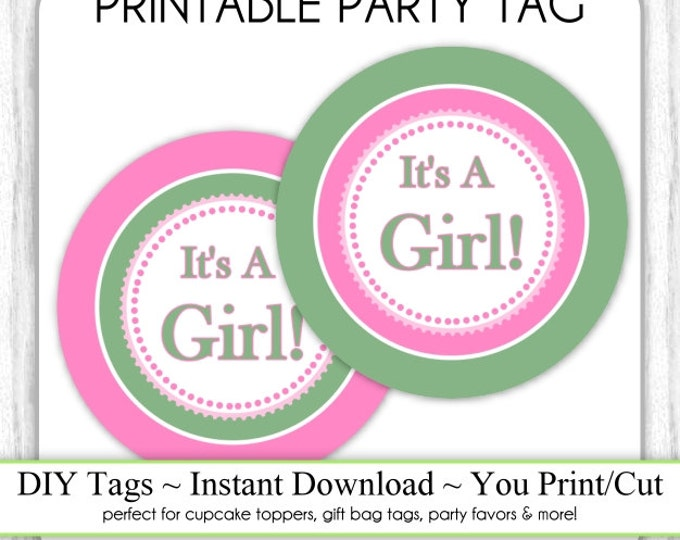 Printable Party tag - Instant Download - Pink and Green Baby Shower Printable Party Tag, Cupcake Topper, DIY, You Print, You Cut
