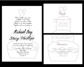 Wedding Invitations, PRINTABLE DIY Wedding cake   includes rsvp and reservation