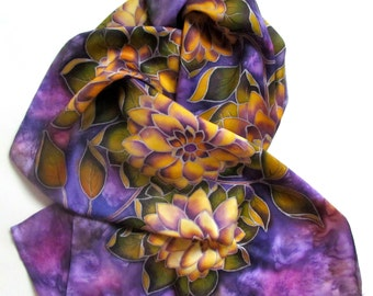 """Hand painted Silk scarf 'Golden dahlias."""".  Hand painted silk flowers scarf. Made to order."""