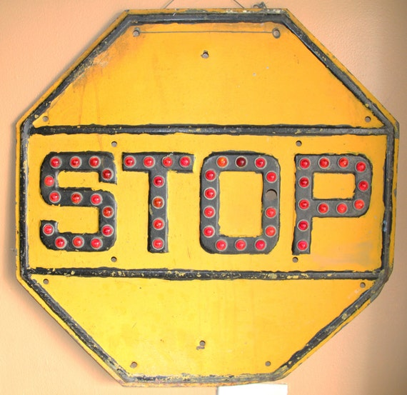 Vintage Traffic Yellow Stop Sign