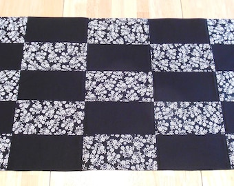 Black and White Table Runner Small Quilted Fabric