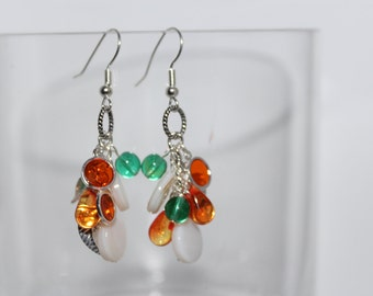 Green, Orange and White Cluster Earrings