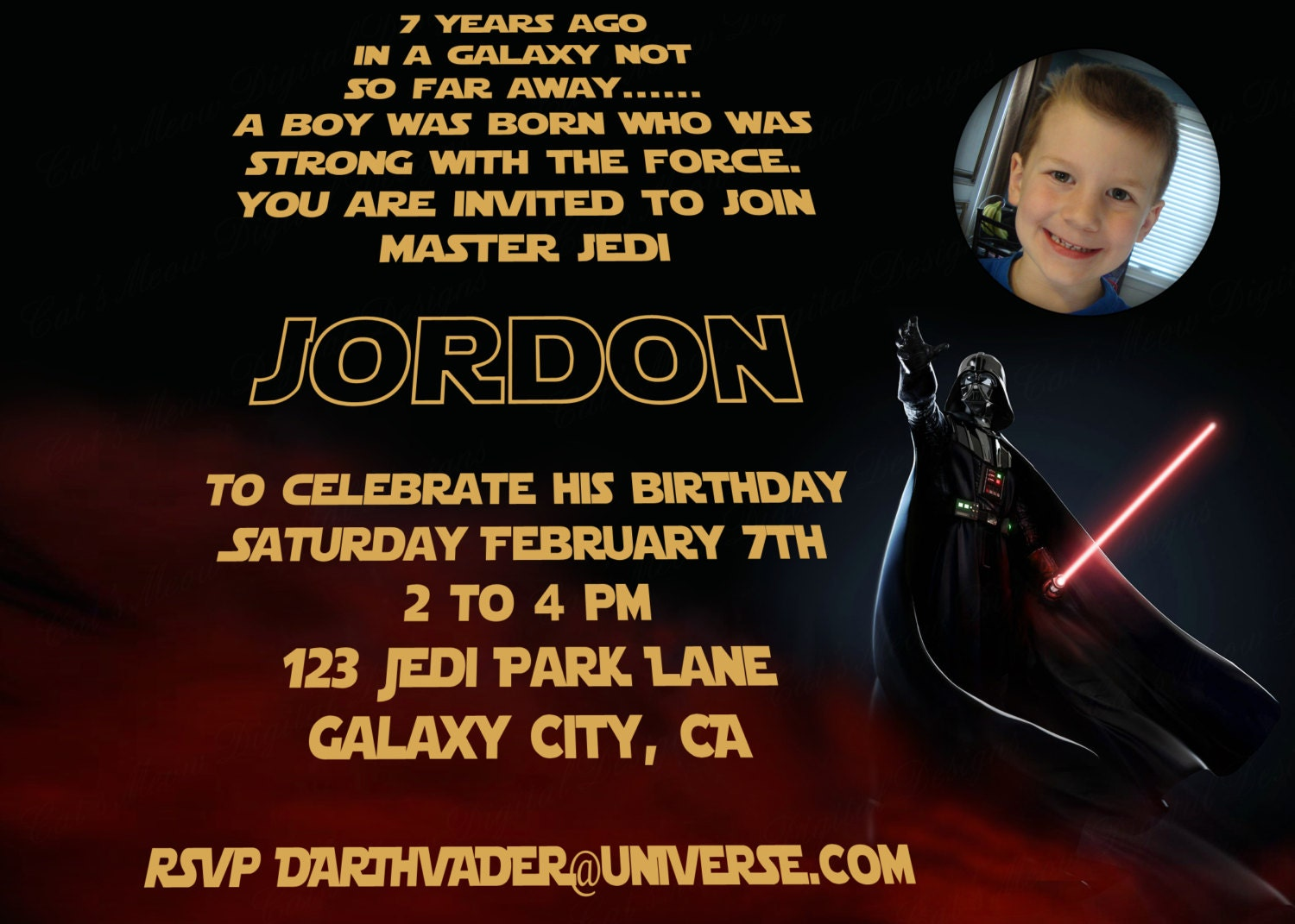 Star Wars Printable Invitation Personalized by CatsMeowDDesigns