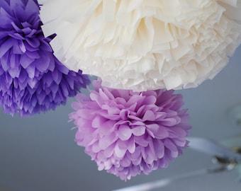 3 tissue paper pom poms / baby girl nursery / purple lilac lavender decoration / nursery decor / lavender baby room / purple nursery decor