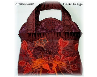 Georgious wedding handbag of silk with embroidery blossom feathers beads red orange 8008