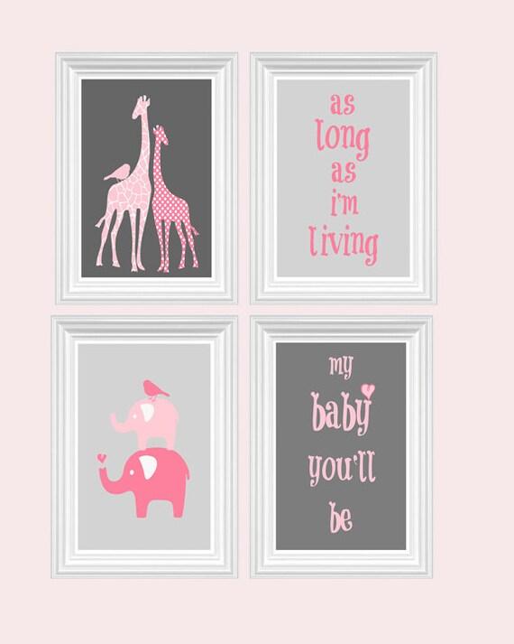 Giraffe nursery mural : Pink giraffe nursery decor