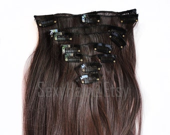 "24"" Medium Brown Hair Extensions, Long Hair Extensions, Brown Hair, Clip on Hair, Clip in Hair, Clip in Extensions, 8 piece Set"