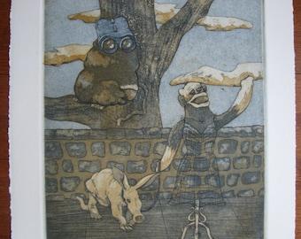 Original Artwork--Sock Monkey Creatures--Always Watching--Intaglio Print