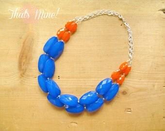 Cobalt blue and orange colorblock Necklace, Blue and orange statement necklace