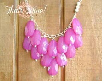 Hot Pink  fuchsia bib statement necklace, Pink statement necklace