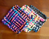Set of three handwoven, custom potholders made from recycled, hand-cut loops