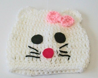 So Cute White Kitty Cat with Pink Bow Hand Crocheted Baby and Childrens Hat Great Photo Prop 5 Sizes Available