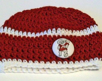 Alabama Inspired Crimson and White Hand Crocheted Baby and Childrens Beanie Hat Great Photo Prop 5 Sizes Available