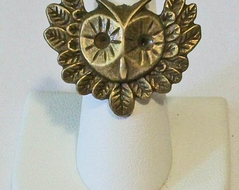 Trendy Aged Brass Gold Owl With Wings Fashion Ring Adjustable Band