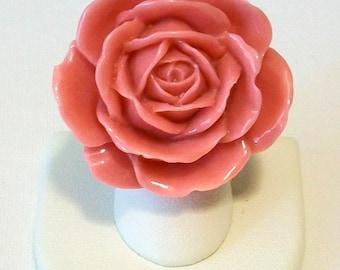 Extra Large Dusty Pink Mauve Shiny Rose Fashion Ring Adjustable Band