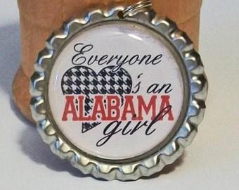 Everyone Loves an Alabama Girl Houndstooth Heart Flattened Metal Bottlecap Pendant Necklace