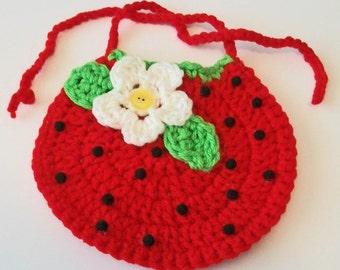 Hand Crocheted Bright Red Strawberry Baby Bib Great Photo Prop