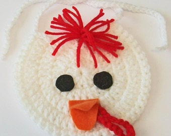 Hand Crocheted Red and White Rooster Chicken Baby Bib Great Photo Prop