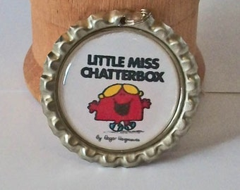 Cute Little Miss Chatterbox Inspired Flattened Bottlecap Pendant Necklace