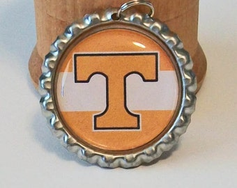 Orange and White Tennessee Vols Inspired Wide Stripe Flattened Bottlecap Pendant Necklace