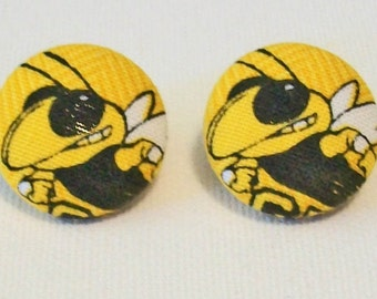 Cute Gold and Black Georgia Tech Yellow Jackets Inspired Fabric Button Pierced Earrings