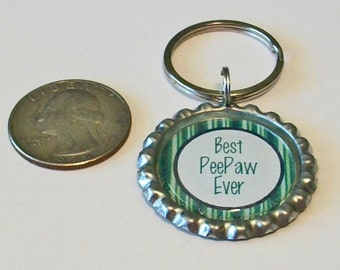 Blue and Green Stripe Best PeePaw Ever Grandfather Metal Flattened Bottlecap Keychain Great Gift