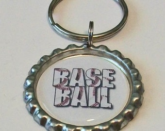 Cute Baseball Stich Metal Flattened Bottlecap Keychain Great Gift