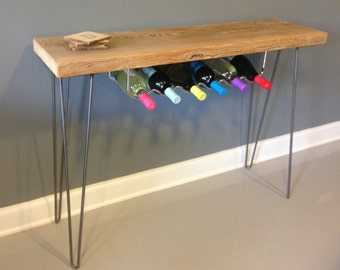 Wine Rack / Bar made from Reclaimed Wood w/ Hairpin Legs, Wine Rack, Bar