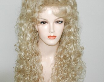Light blonde long curly wig