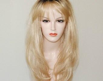 long layered blonde wig/ dark brown root