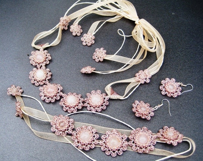 """3 PCs. Jewelry set """"Blossoming almond"""" necklace, bracelet, earrings, Bridal jewelry, spring"""