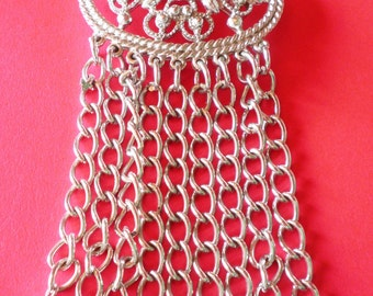 Vintage Sarah Coventry Silver Tone Dangly Brooch