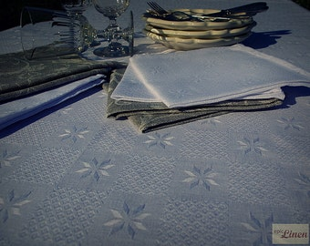 CLEARANCE / Linen Tablecloth White Star (extra small)
