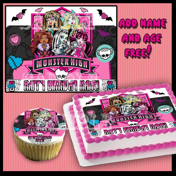 Personalized  Monster High edible cake or cupcake toppers Birthday Sugar icing frosting sheet picture photo image sticker top decal transfer