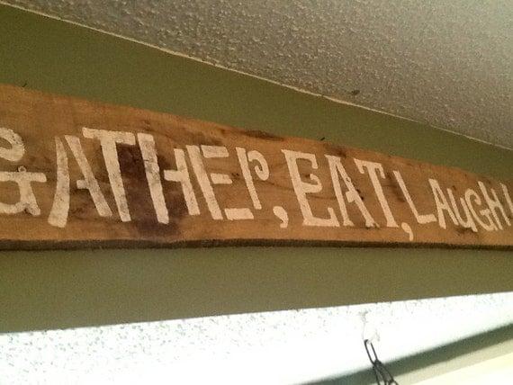 eat laugh wooden kitchen sign rustic kitchen decor barn kitchen