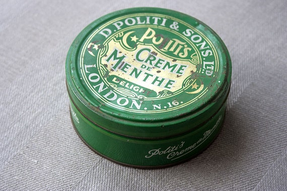 Old green metal tin - Politis Creme de menthe