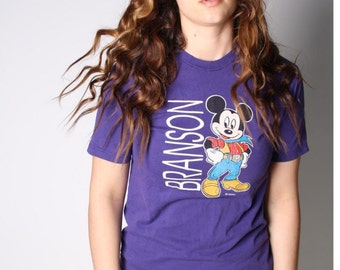 Vintage 90s Purple Mickey Mouse Cowboy Branson T Shirt 00038s