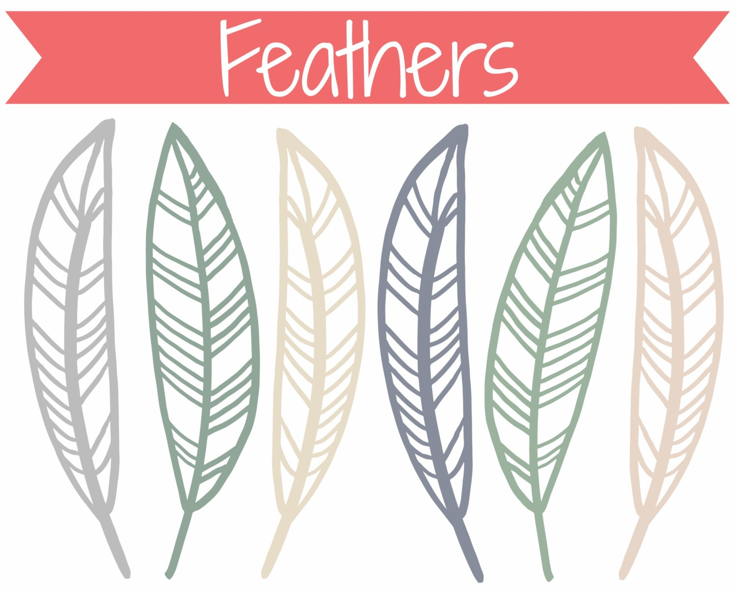 Feather Outline Clip Art Doodle feathers clip art
